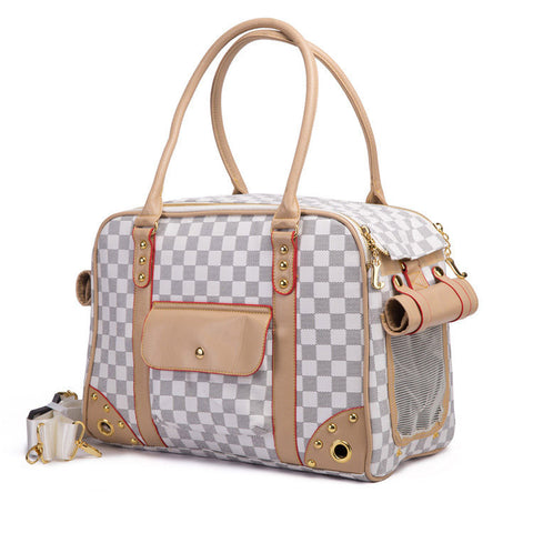 High Quality Pleather Dog Carriers Breathable Dog Carrier Bag Plaid Pet Bags for Small Dogs Cat Carrier Handbag Classic Pet Tote
