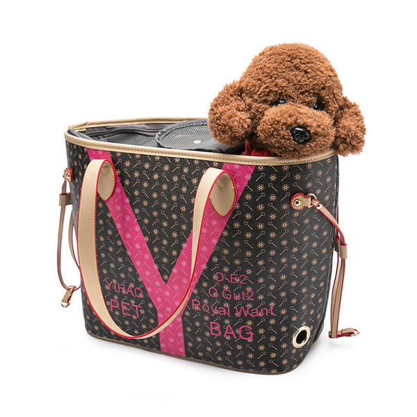 Dog Carrier pu Leather Pet Carrying Bags Small Medium Cat Slings