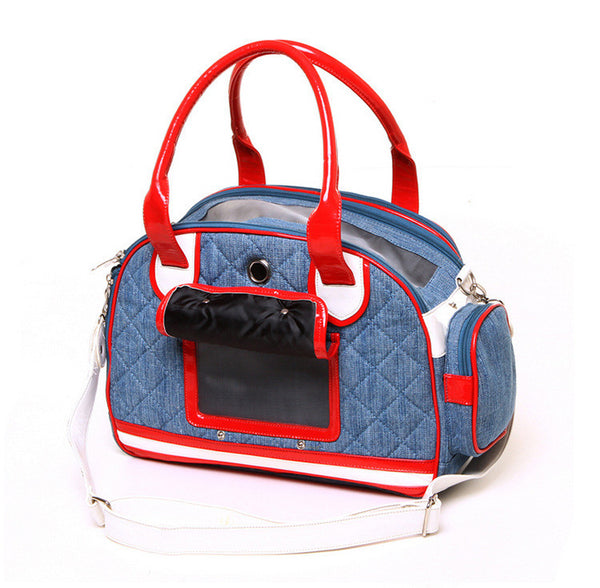 Quilted Denim Casual Portable Dog Bag for Small Dogs and Cats Travel Pet Carrier