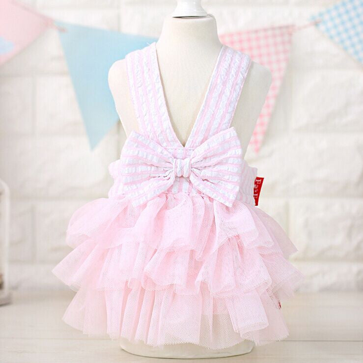 Tutu Pet Dress for Small Dogs and Cat Cotton Lovable Stripe Pet Dog Skirt