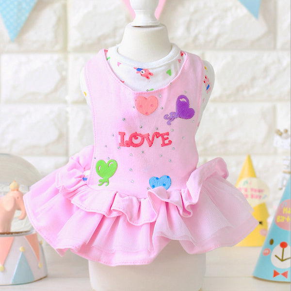 Summer Dog Dress Dogs Princess Dresses Cute Puppy Clothes Small Dog Skirt Pink