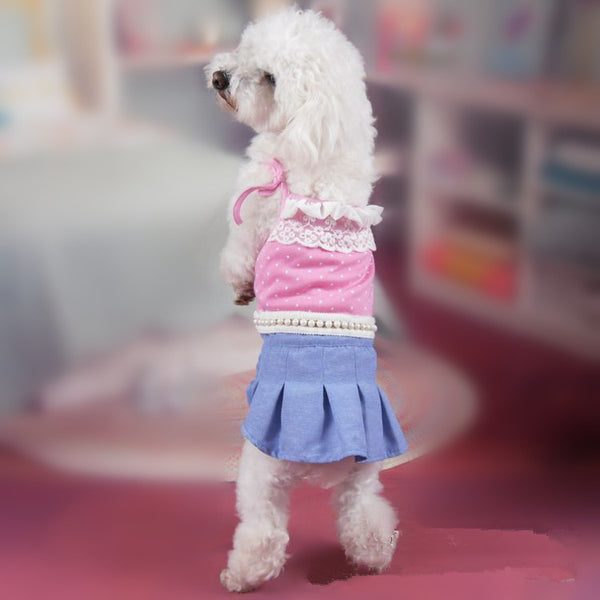 2015 Pet Dog Dress Pleat Dog Summer Dress Polka Dot with Pearl Waist Shoulder Knot Lovable Dog Dress Pink XS to XL Free Shipping