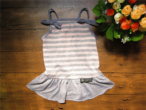 Pet Dog Dresses Braces Dog Skirt Red and Heather Grey Stripe