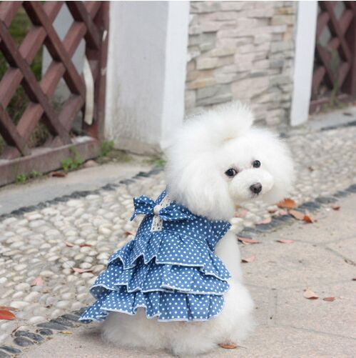 Puppy Dog Skirt Dress Poodle Princess Dog Dress Summer Cute Polka Dot 100% Cotton Dog Clothes Free Shipping