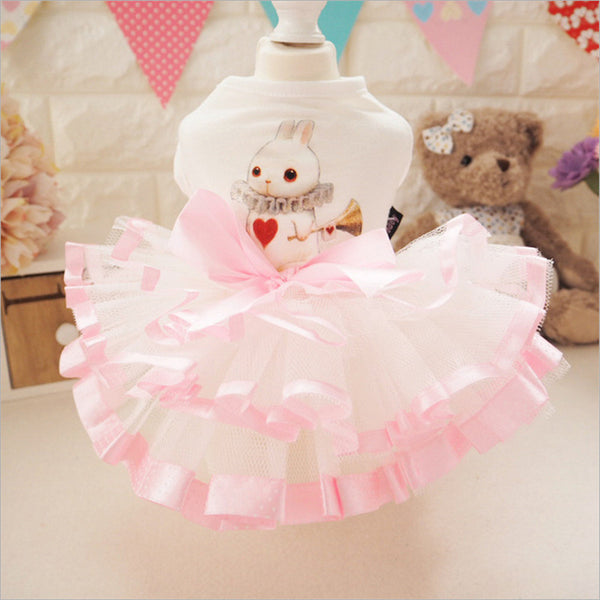 Quality Cute Dog Dress Summer Pink Pet Tutu Fluffy