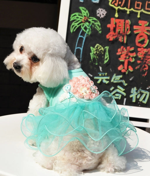 Dog Dresses  Princess with 3D Flowers for Daily Wear