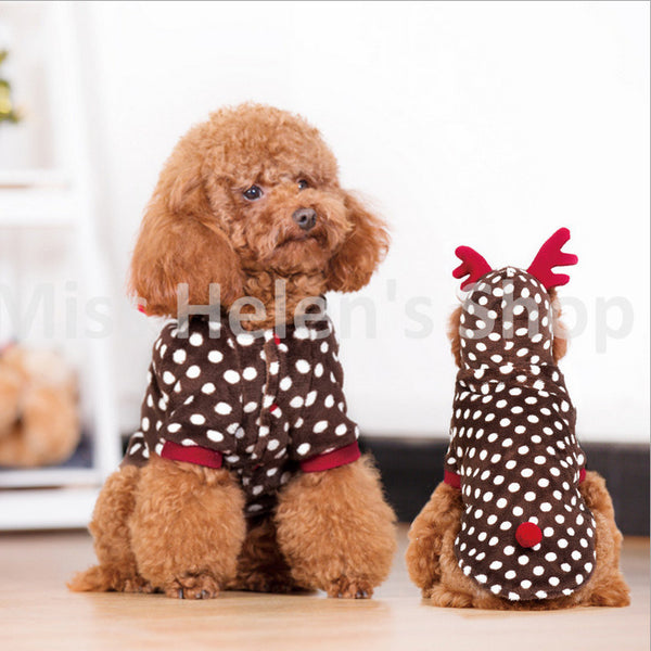 Quality Reindeer Dog Costume Polka Dot Pet Clothes Cute Fleece Dog Cat Clothes Holiday Christmas Pet Dog Clothes Chihuahua XS-L