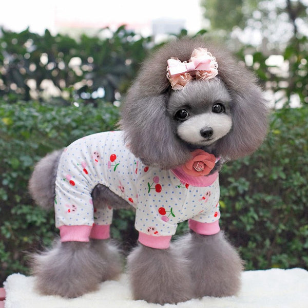 SWEETPETCO 100% Cotton Dog Pajamas Jumpsuit Puppy Cat Cute Small Dog Clothes Cartoon Printing Clothing For Dog Rompers XS-XL