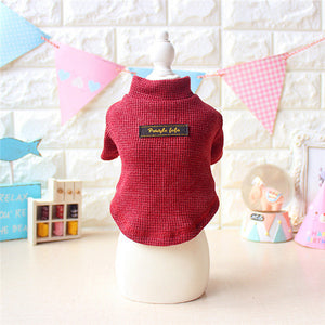 2016 Waffle Knit Dog Sweater Autumn Pet Clothes Cotton Small Dog Undershirts Daily Wear Puppy T Shirts Chihuahua Yorkie Clothes