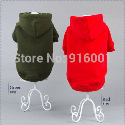 2016 High Quality 100% Cotton Super Soft&Comfortable Plain Dog Clothes Solid Color Dog Hoodies Blank Dog Clothes Solid Dog Coats