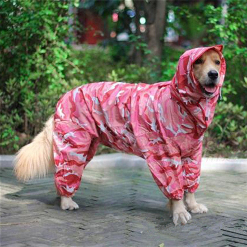 Large Dog Raincoat for Medium to Big Dogs Outdoor Camouflage Pet Clothing Waterproof Pet Clothes Coat for Husky Golden Retriever