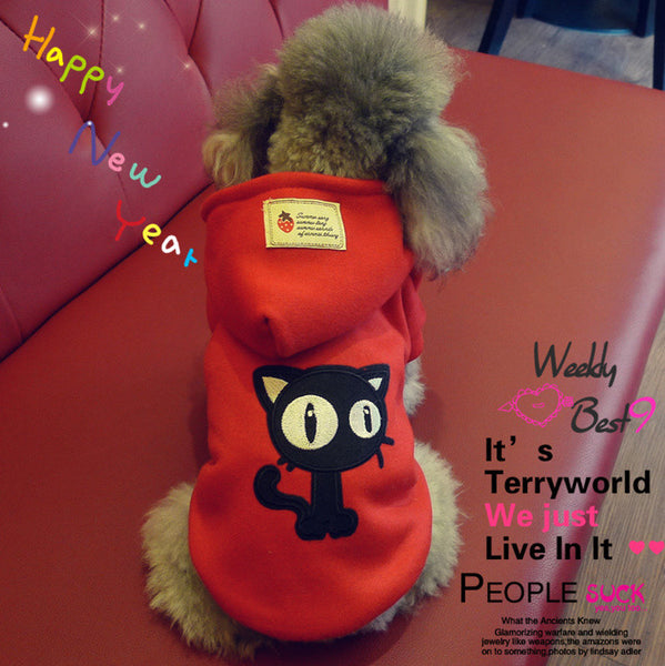 2015 WINTER Red Dog Hoodies Poly Cotton Thick Fleece Dog Jacket Qulity Winter Dog Clothes Dog Coats FREE SHIPPING