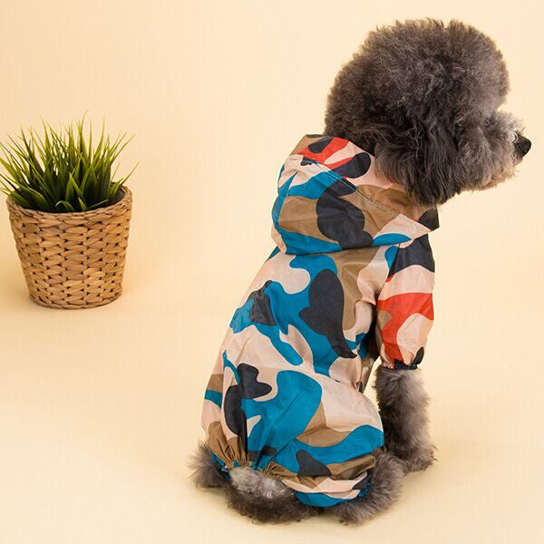 2016 Hot Sale Pet Dog Cat Raincoat Clothes Puppy Hooded Waterproof Rain Jackets Camo Dog Coat  with Legs Dog Jumpsuit S-XXL