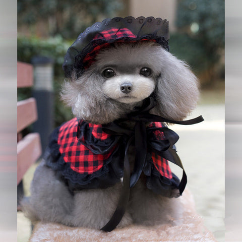 2015 New Summer Dog Clothes Princess Plaid Cape Quality Pet Dog Sophie Princess Costume Set Vintage Small Dogs Cute Dog Clothes