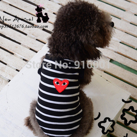 2015 Super Comfortable Cotton Brand New Black Stripes Dog t shirts Summer Dog Clothes Vest Shirt Teddy Clothes FREE SHIPPING