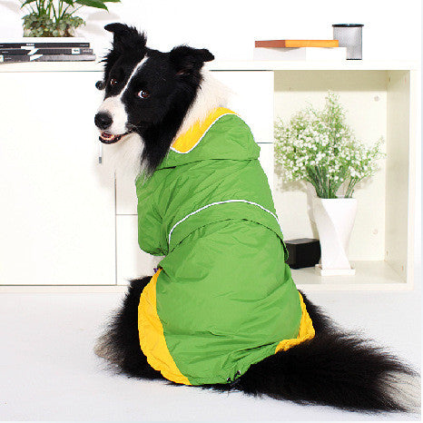 New Quality Waterproof Big Dog Raincoats with Hood Reflective Piping Large Pet Raincoat Jacket Red Green Yellow 3 Large Sizes