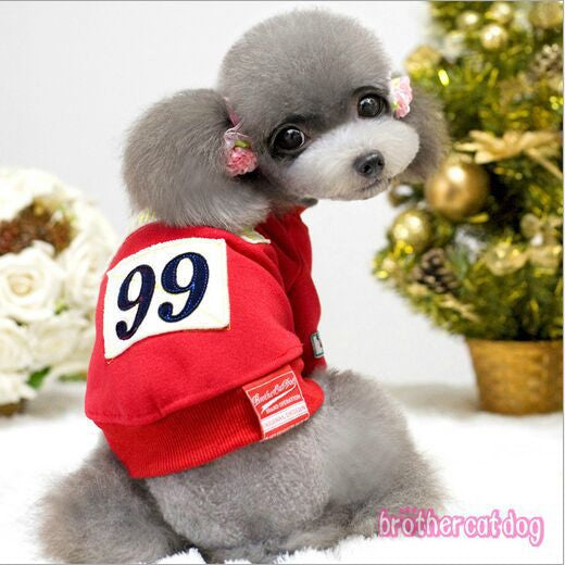 Small Dog Hoodies Brand Quality Letters Pet Dog Hoodies Red and Yellow