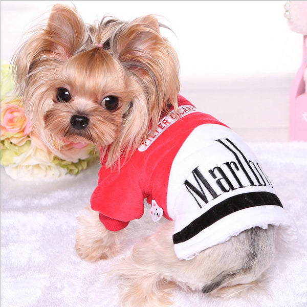 Quality Fleece Pet Cat Dog Clothes Warm Winter Small Dogs Clothes Hoodie Coat Cute Funny Letters Yorkie Winter Jacket Apparel