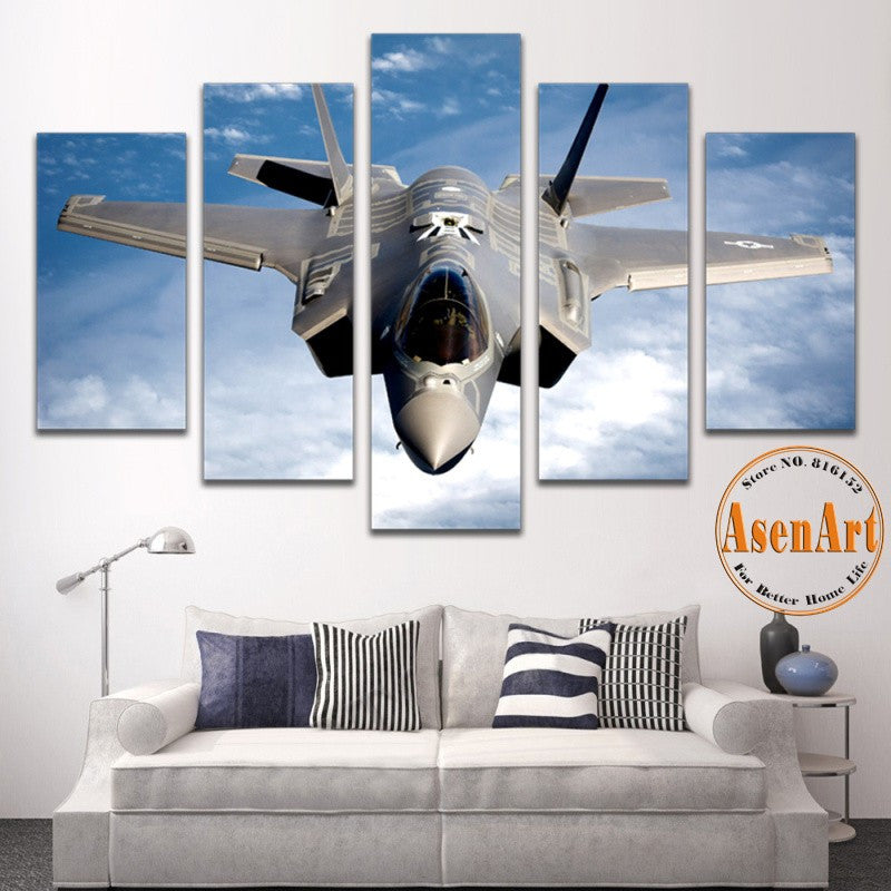 5 Panel Painting Fighter Airplane Aircraft Model Wall Art Canvas Prints Modern Artwork Wall Pictures for Living Room Unframed
