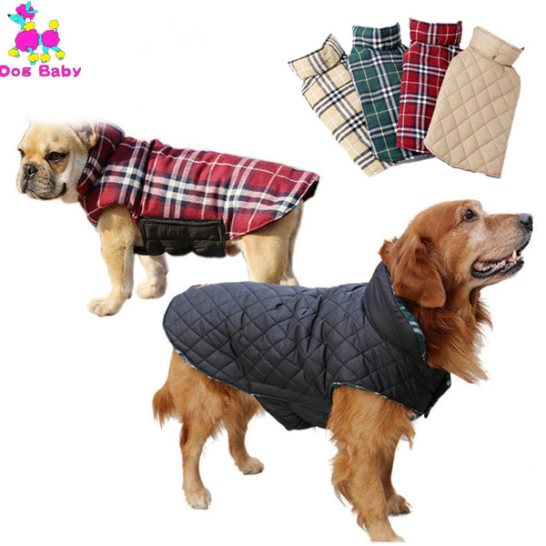Winter Pet Coat 100% Cotton Reversible Jacket Warm Plaid Waterproof Dog Jackets Elastic Adjustable Clothes For Small Lager Dogs