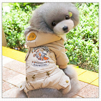 Winter Pet Jacket 100% Cotton Warm Coat Letter Prineted Four Legs Blue Brown Clothing For Small Large Dogs Size S M L XL XXL