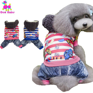 Autumn Winter 100% Cotton Dog Jumpsuits Letter Number Car Print Pet Coat Red Blue Color Clothes For Dogs Size S M L XL XXL
