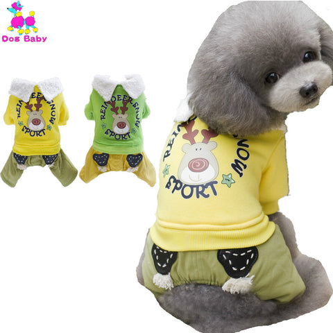 100% Cotton Coat For Dogs Warm Winter Print Yellow Green Dogs Clothes Fashion Cool Jackets For Small Big Larger Dogs Size S-XXL