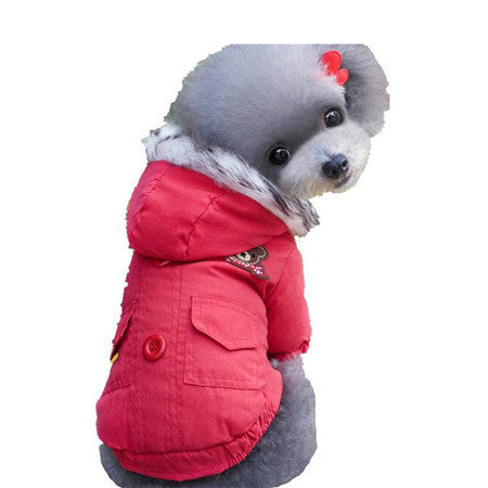 Dogbaby Cotton Winter Dog Coat Solid Blue Red Color Pet Clothes Warm Fashion Jacket Clothing For Dogs Free Shipping Size S-XXL