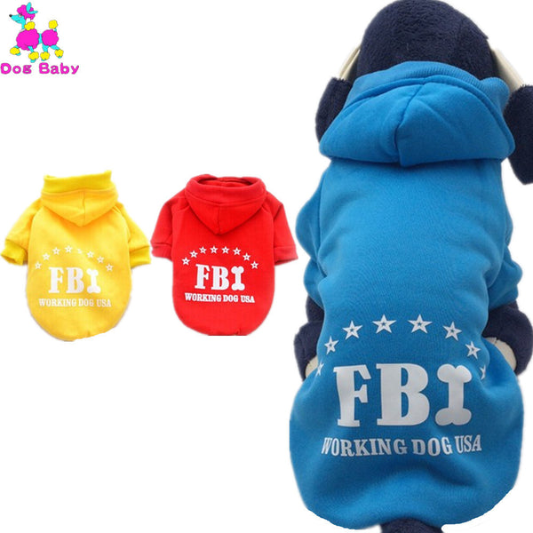 Pet Clothes 100% Cotton Letter Print Dog Hoodies  Autumn Winter Blue Pink Red Black Yellow Color Pet Sweater Costume Size XS-2XL