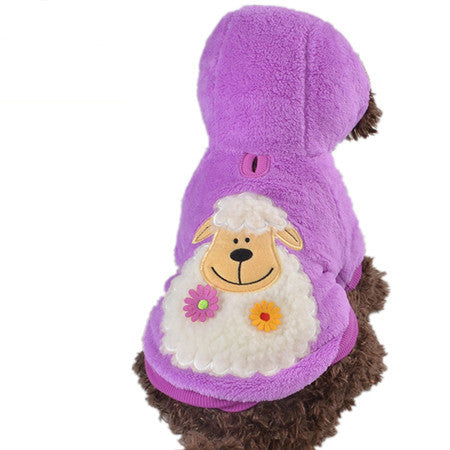 Winter Warm Dogs Hoodies 100% Cotton Dog Coat Animal Pattern Green Red Blue Yellow Purple Color Size XXS XS S M L Pet Clothes