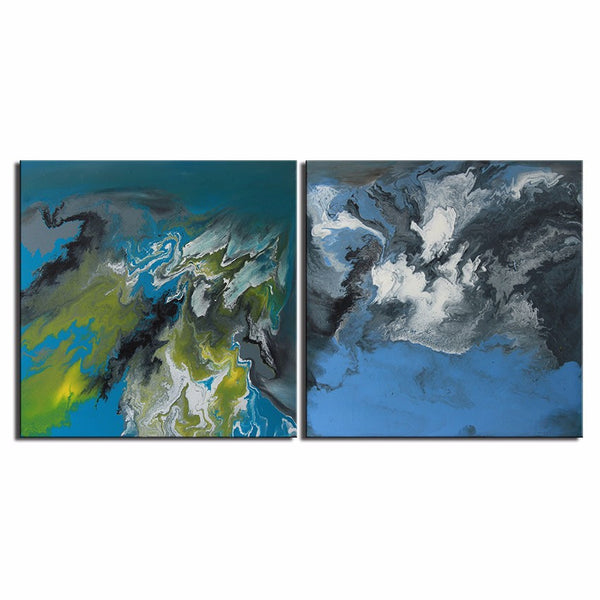 2pcs NO FRAME Printed Zao Wou-Ki ABSTRACT Oil Painting Canvas Prints Wall Painting For Living Room Decorations wall picture art