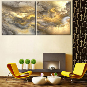 2pcs set NO FRAME Printed yellow Cloud Oil Painting Canvas Prints Wall Painting For Living Room Decorations wall picture art