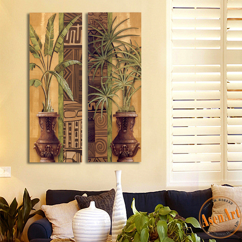 2 Piece Set Vase Painting Green Plants Painting for Bedroom Wall Decor Canvas Prints Artwork Wall Picture No Frame