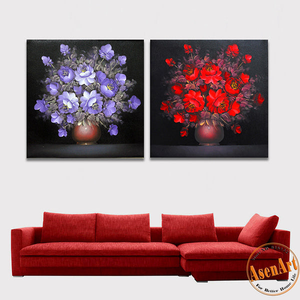 2 Panel Painting Red Purple Flowers Vase for Home Decoration Wall Art Canvas Prints Wall Picture Unframed
