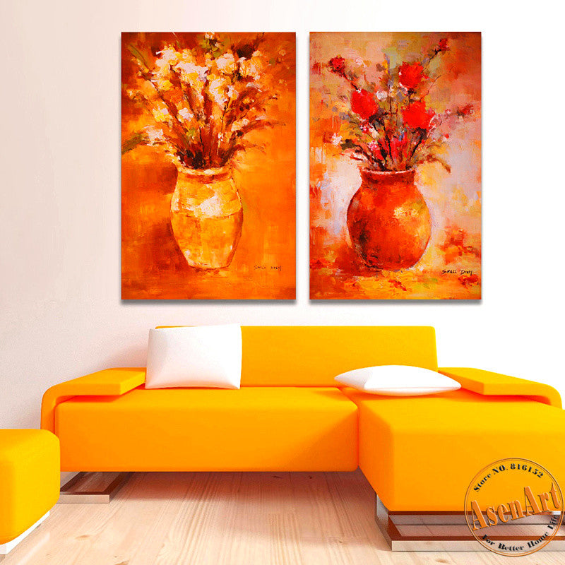 2 Piece Set Impression Flower Picture Vase Painting for Living Room Modern Art Canvas Prints Wall Paintings No Frame