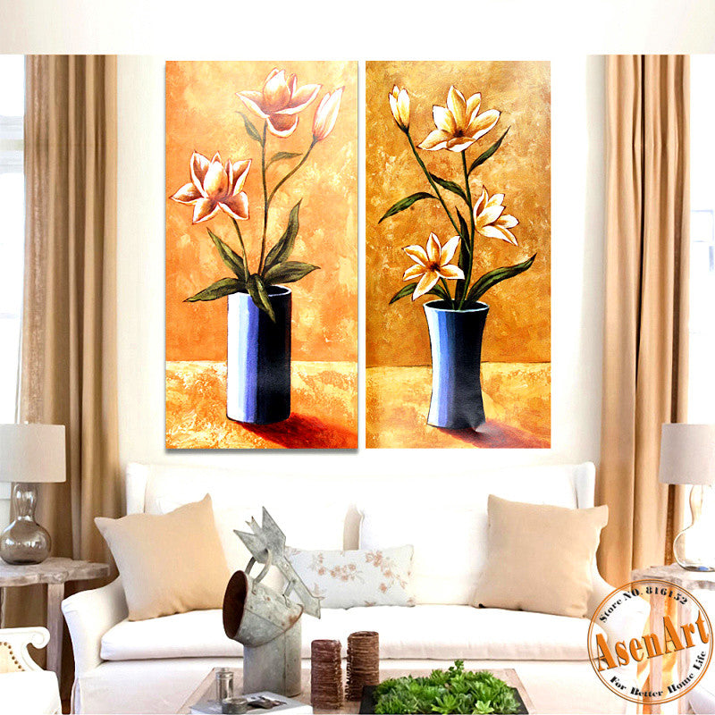 2 Piece Set Classical Flower Picture Vase Painting for Living Room Modern Art Canvas Prints Wall Paintings No Frame
