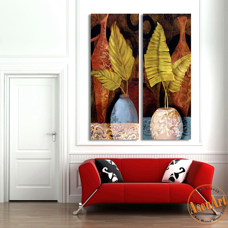 2 Piece Set Leaves Flower Vase Painting for Living Room Modern Art Canvas Prints Wall Paintings No Frame