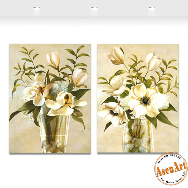 2 Piece Set White Flower Picture for Wall Art Canvas Prints Wall Paintings for Living Room Home Decor Unframed