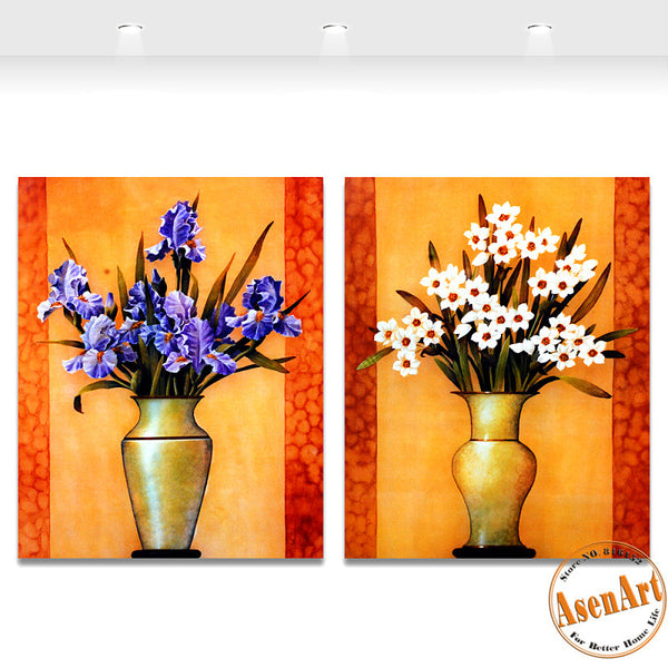 2 Piece Set Purple White Flower Picture Art Vase Painting for Living Room Modern Wall Art Canvas Prints No Frame