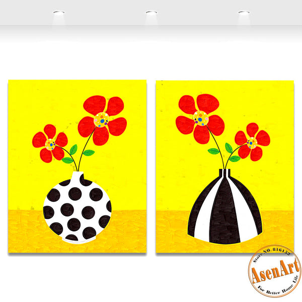 2 Piece Set Cartoon Red Flower Picture Art Vase Painting for Living Room Modern Wall Art Canvas Prints No Frame