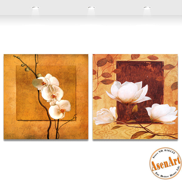 2 Piece Set Classical White Flower Canvas Painting Floral Picture for Living Room Wall Art Canvas Prints Unframed
