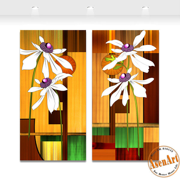 2 Piece Set White Abstract Flower Painting Modern Home Decoration Wall Art Canvas Prints Wall Picture Unframed