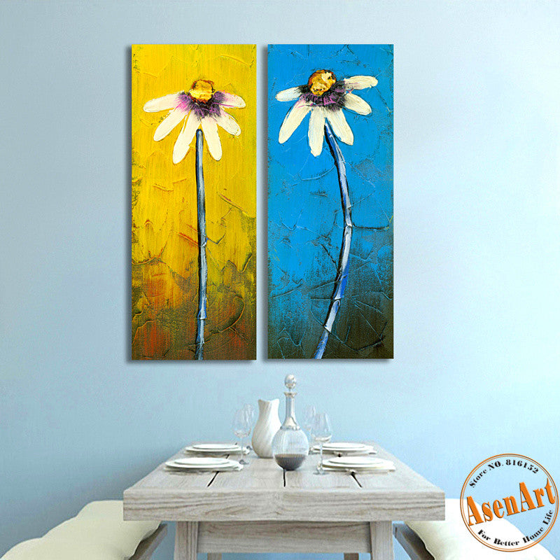 2 Piece Set Daisy White Flower Painting Palette Knife Painting Canvas Prints Wall Picture for Dining Room Unframed