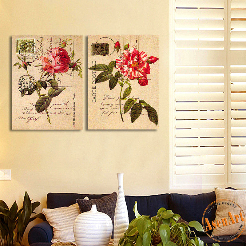 2 Piece Set Envelope Peony Red Flower Picture Art Vintage Painting for Living Room Wall Art Canvas Prints No Frame