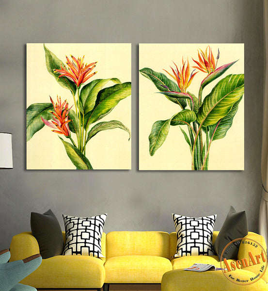 2 Piece Set Green Plants Painting for Living Room Home Decoration Wall Art Canvas Prints Wall Picture No Frame
