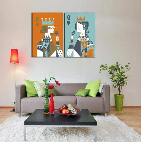 2 Pieces Picture Poker King and Queen Toast Painting Canvas Print Wall Art Home Living Office Wall Decor