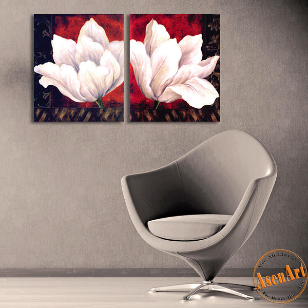 2 Piece Set White Flower Picture Art Vintage Painting for Living Room Modern Wall Art Canvas Prints No Frame