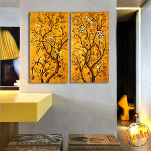 2 Piece Set Birds on Tree Painting Vintage Paintings for Living Room Modern Wall Art Canvas Prints Wall Picture No Frame