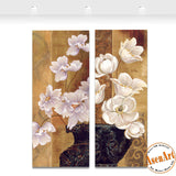 2 Panel Vintage White Flower Picture Vase Painting for Bedroom Wall Decor Canvas Prints Artwork No Frame