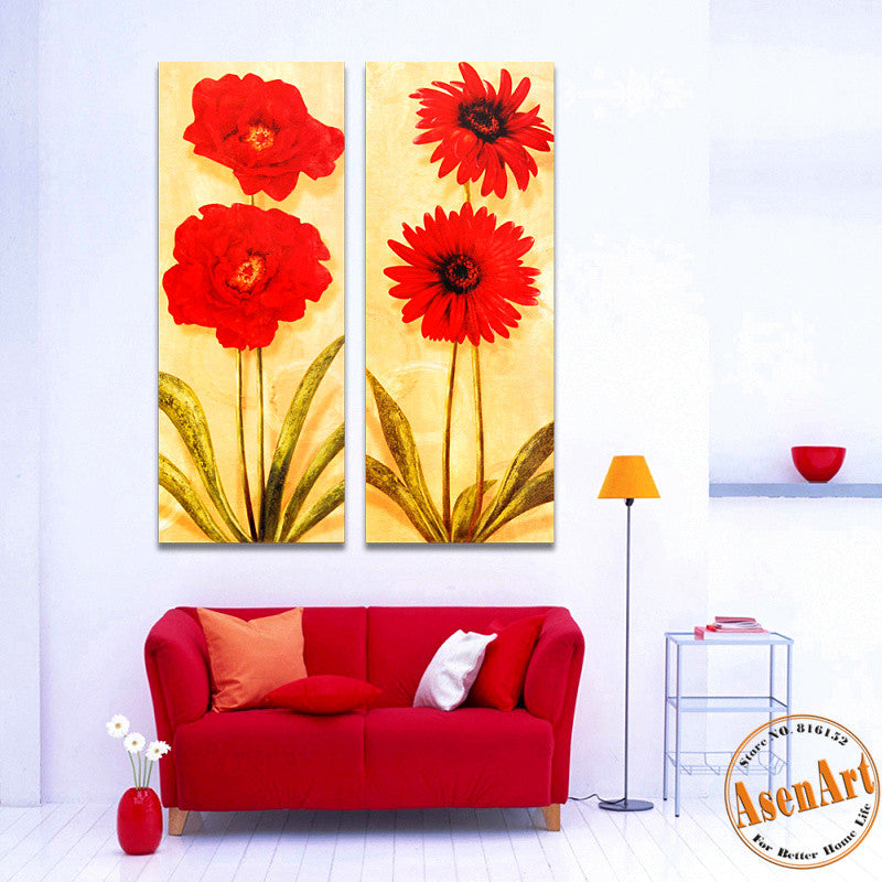 2 Panel Vintage Red Flowers Painting Wall Pictures for Living Room Home Decoration Wall Art Canvas Prints Unframed